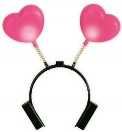 Haarreif Herz, pink, leuchtend