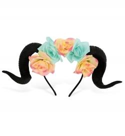 Haarreif Widder mit Blumen, (Hörner 100% PU)