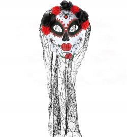 Halbmaske Tag der Toten, mit Blumen + Schleier