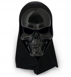 Maske Totenkopf schwarz mit Haube