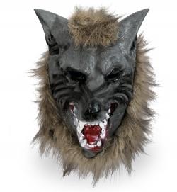 Vollmaske Wolf mit Haaren