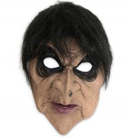 Horrormaske Hexe mit Haar Halbmaske