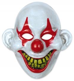 Horrormaske Clown weiß-rot Halbmaske