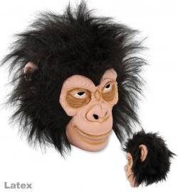 3/4 Maske Affe mit Haaren, Latex