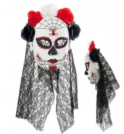 Halbmaske Mexikanischer Totentag, Rosen schwarz-rot-weiß