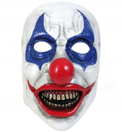 Halbmaske Horrorclown blau-rot, Latex