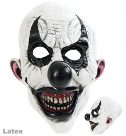 3/4 Maske Horror-Clown, weiß-schwarz, Latex
