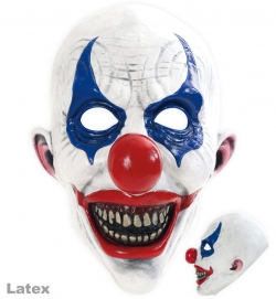 3/4 Horrormaske Horror-Clown, weiß-blau-rot, Latex