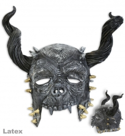 Halbmaske Horror mit Hörnern, Latex