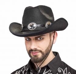 Cowboyhut schwarz  mit Concho-Hutband
