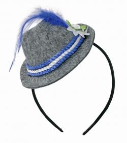 Mini-Trachtenhut auf Kopfbügel, weiß/blau