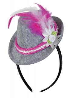 Mini-Trachtenhut auf Kopfbügel, weiß/pink