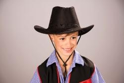Cowboyhut für Kinder Kunstleder, schwarz