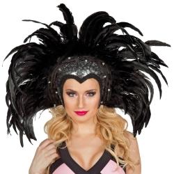 Federkopfschmuck Showgirl, schwarz