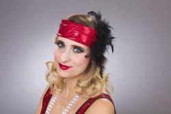Charleston-Stirnband mit Federn, rot
