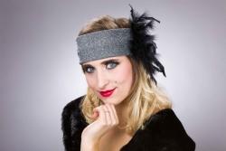 Charleston-Stirnband mit Federn, silber