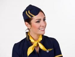 Kappe für Flugbegleiterin Stewardess, dunkelblau