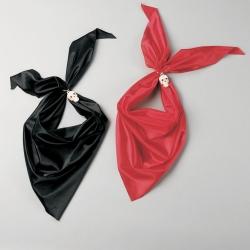 Piratenhalstuch mit Totenkopfring schwarz oder rot