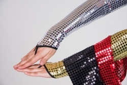 Paillettenhandschuhe, fingerlos, 58 cm