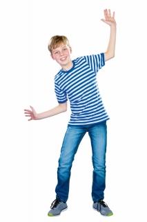Kinder T-Shirt, blau/weiß gestreift