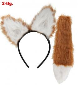 Fuchs-Set, 2-tlg. (Haarreif und Fuchsschwanz)